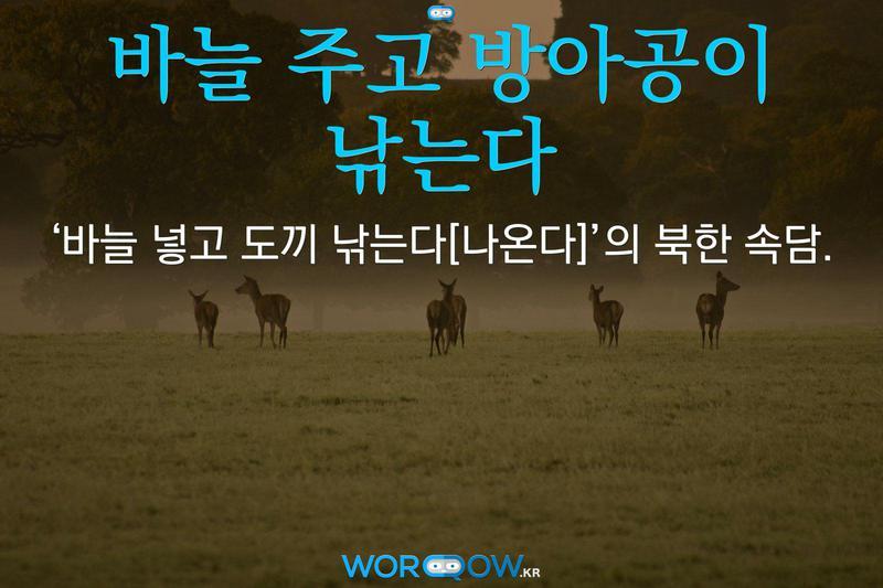 바늘 주고 방아공이 낚는다: '바늘 넣고 도끼 낚는다[나온다]'의 북한 속담.